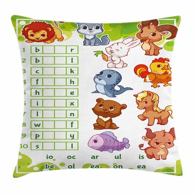 Puzzle Rebus Game Square Cushion Pillow Cover Size: 18 x 18