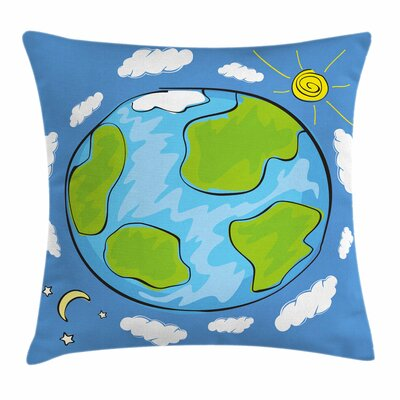 Earth Kids Drawing of Planet Square Pillow Cover Size: 16 x 16
