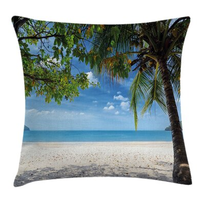 Tropical Beach Ocean Square Pillow Cover Size: 16 x 16