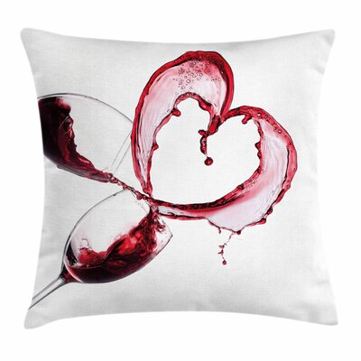 Wine Heart Shape Spilling Wine Square Pillow Cover Size: 18 x 18