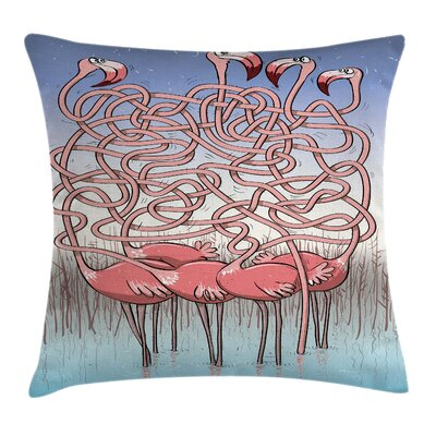 Flamingos Maze Game Joy Square Pillow Cover Size: 16 x 16