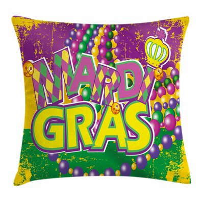 Mardi Gras Grunge Beads Letters Square Cushion Pillow Cover Size: 16 x 16