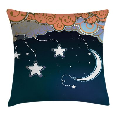 Cartoon Style Night Sky Square Pillow Cover Size: 16 x 16