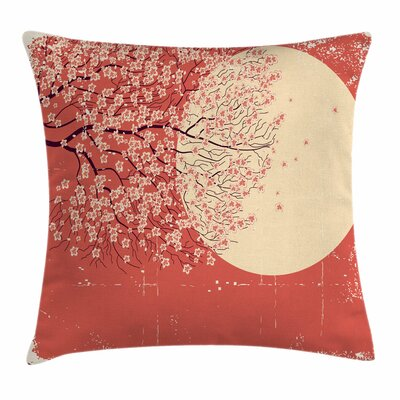 Japanese Cherry Sakura Blossoms Cushion Pillow Cover Size: 18 x 18