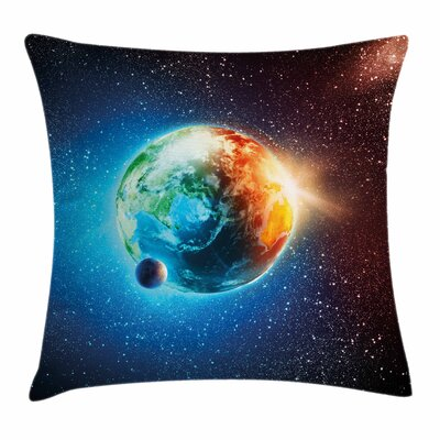 Earth Galaxy Space Stars Astral Square Cushion Pillow Cover Size: 20 x 20