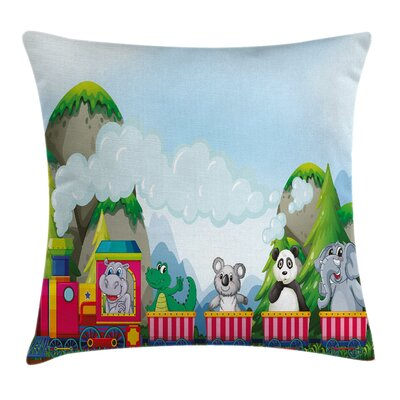 Cartoon Animals on Train Square Pillow Cover Size: 16 x 16