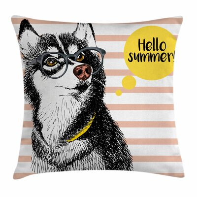 Alaskan Malamute Retro Hipster Square Pillow Cover Size: 18 x 18