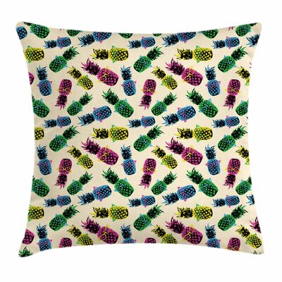 80s Vibrant Pineapple Square Cushion Pillow Cover Size: 18 x 18