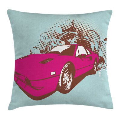 Pink Car Pillow Cover Size: 24 x 24