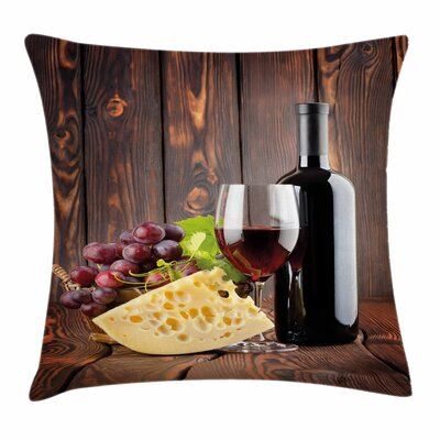 Wine Cabernet Bottle Cheese Square Pillow Cover Size: 18 x 18