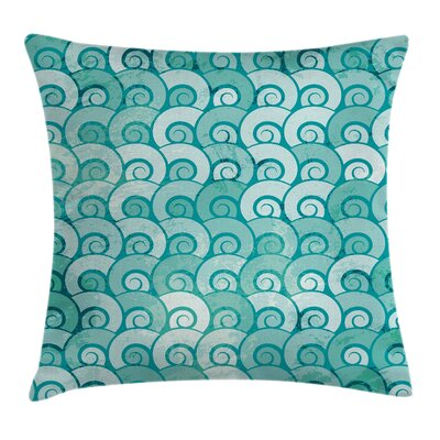 Swirled Spiral Sea Waves Square Pillow Cover Size: 20 x 20