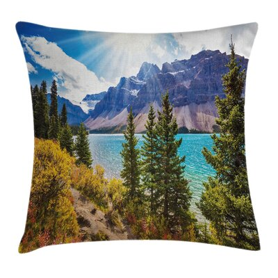 Canadian Glacial Lake Square Pillow Cover Size: 16 x 16
