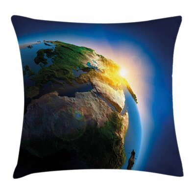 Earth Morning Sunrise Space Square Pillow Cover Size: 18 x 18