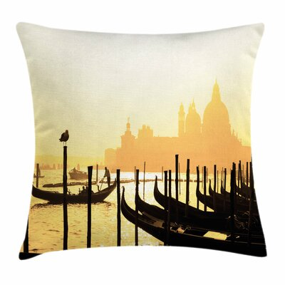City at Sunrise Square Pillow Cover Size: 18 x 18