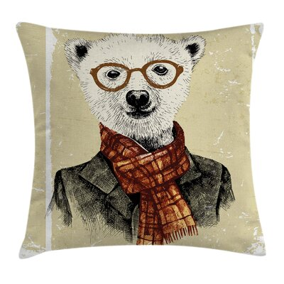 Hipster Bear Glasses Square Pillow Cover Size: 16 x 16
