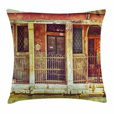 Aged Italian Building Square Pillow Cover Size: 24 x 24