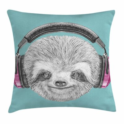DJ Sloth Headphones Square Pillow Cover Size: 16 x 16