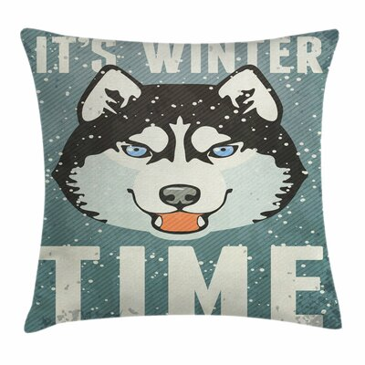 Alaskan Malamute Retro Poster Square Pillow Cover Size: 18 x 18