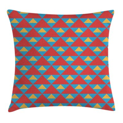 Big Small Triangles Retro Cushion Pillow Cover Size: 18 x 18