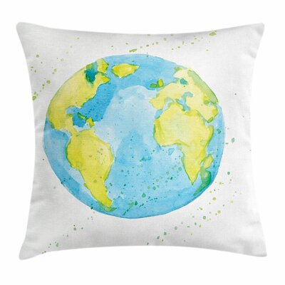 Earth Watercolor Style Planet Square Pillow Cover Size: 16 x 16