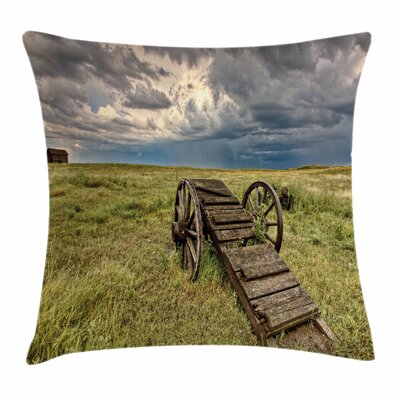 Wheel Old Prairie Cart Square Pillow Cover Size: 16 x 16
