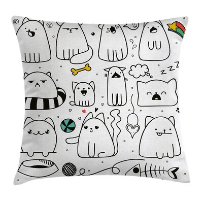 Sketchy Cats with Toys Cushion Pillow Cover Size: 16 x 16