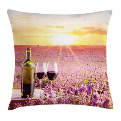 Wine Blooming Lavender Picnic Square Pillow Cover Size: 18 x 18