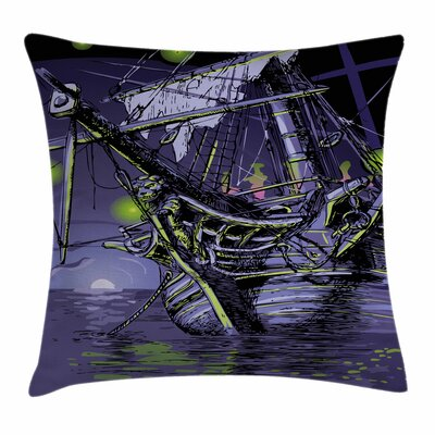 Pirate Ship Ghost Vessel Island Square Cushion Pillow Cover Size: 16 x 16