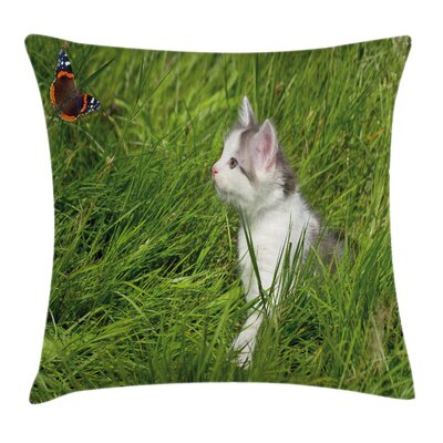 Cute Cat and Butterfly Cushion Pillow Cover Size: 20 x 20
