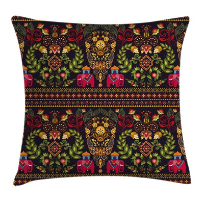 Tribal Ethnic Floral Art Square Pillow Cover Size: 16 x 16