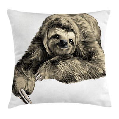 Sloth Tropical Smiling Square Pillow Cover Size: 20 x 20