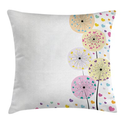 Dandelions Cute Hearts Cushion Pillow Cover Size: 16 x 16