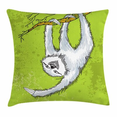 Sloth Decorative Branch Square Pillow Cover Size: 18 x 18