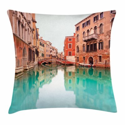 Water Canal Bridge Boat Square Pillow Cover Size: 18 x 18