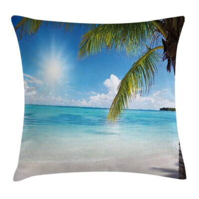 Beach Tropical Seashore Palms Cushion Pillow Cover Size: 24 x 24