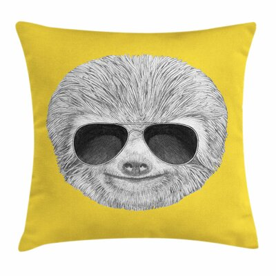 Sloth Sunglasses Square Pillow Cover Size: 16 x 16