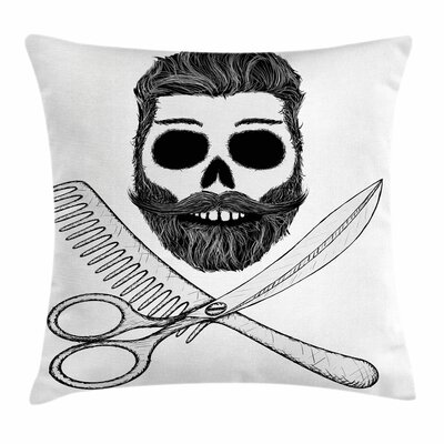 Hipster Skull Hairstyle Square Cushion Pillow Cover Size: 16