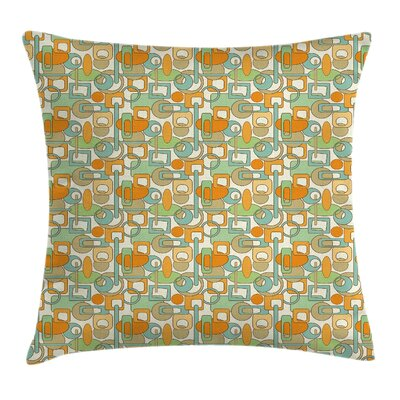 Abstract Shapes Mix Square Pillow Cover Size: 24 x 24