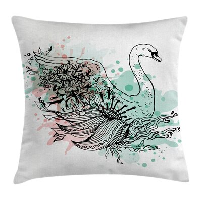 Sketchy Swan Water Cushion Pillow Cover Size: 18 x 18