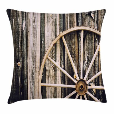 Wheel Wooden Barn Door Square Pillow Cover Size: 16 x 16