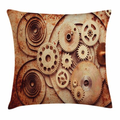 Mechanical Clocks Square Pillow Cover Size: 18 x 18