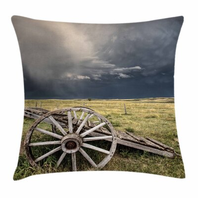Wheel Vintage Cart Clouds Square Pillow Cover Size: 18 x 18