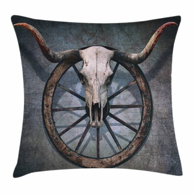 Wheel Wild West Skull Square Pillow Cover Size: 24 x 24