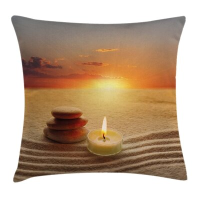 Zen Yoga Candle Cushion Pillow Cover Size: 16 x 16