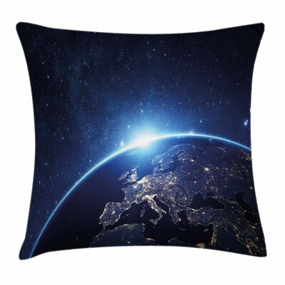 Earth Planet From the Space Square Cushion Pillow Cover Size: 18 x 18