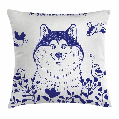 Alaskan Malamute Blooming Field Square Pillow Cover Size: 16 x 16
