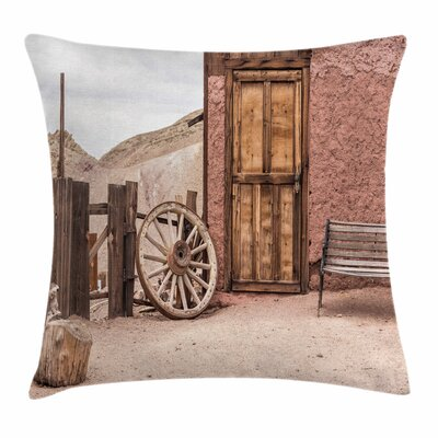 Wheel Rustic Farmhouse Square Pillow Cover Size: 18 x 18