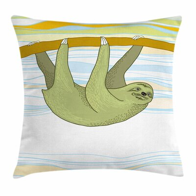 Sloth Tropic Oceanic Habitat Square Pillow Cover Size: 16 x 16