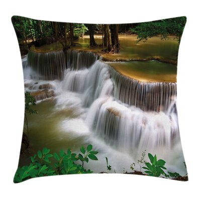 Waterfall in Thailand Square Pillow Cover Size: 24 x 24