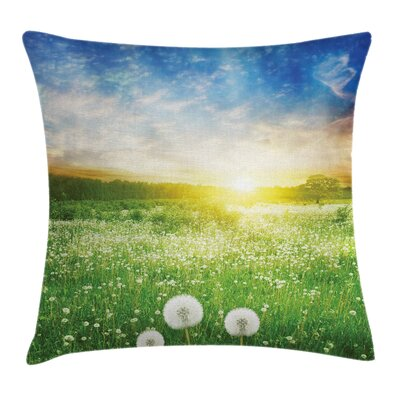 Dandelion Flower Field Cushion Pillow Cover Size: 24 x 24